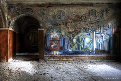 nice painting ([AndreasS]) Tags: old light urban flower history abandoned wall canon hospital germany painting lost eos hope evening lab peeling paint arch drawing decay secret grunge paintings location dirty historic hallway patient equipment medical dirt ill doctor forgotten soviet laboratory trespass ddr 5d inside sanatorium russian exploration sick desolate asylum derelict hdr decayed krankenhaus dereliction hdri mental mii sykehus urbex sted mark2 teupitz forlatt psyciatric mentalsykehus photoxploring