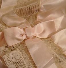 Whisper Pink Silk & Valenciennes Lace Ruffled Ribbon & Rosette Boudoir Cap 5 (mon