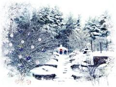 winter staircase to gazebo