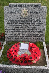 Burma Campaign Memorial, Plymouth (delta23lfb) Tags: burma plymouth wreath poppy ww2 warmemorial worldwar2 secondworldwar kohima burmastar burmastarassociation