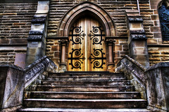 Church Door and Steps (Luke Peterson Photography) Tags: orange storm church yellow stone dark scary pray steps dirty hdr