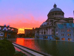 Fiery Sunset (brooksbos) Tags: city blue sunset red sky urban orange reflection church water pool yellow geotagged ma photography photo glow sony newengland cybershot science burn bostonma symphony sonycybershot plaza bostonist masschusetts 02115 lurvely everyblock science thatsboston christian dschx5v hx5v brooksbos