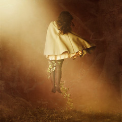walking alone (brookeshaden) Tags: light girl vines little levitation tights bluejay workshop cloak brookeshaden texturebylesbrumes ialsodidanoverlayofthetreefromapreviousphotoofminemy