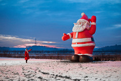 where the hell have you been? (einsteinsmonster) Tags: santa red snow field nikon girlfriend inflatable fatherchristmas gill sthelens lightroom d90 sigma30mmf14 einsteinsmonster christmastreeland yourphototips