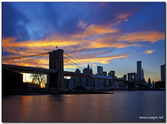 New York Sunset (iCamPix.Net) Tags: newyorkcity bridge usa newyork america unitedstates manhattan dumbo queens brooklynbridge eastriver empirestate engineer professionalphotographer civil