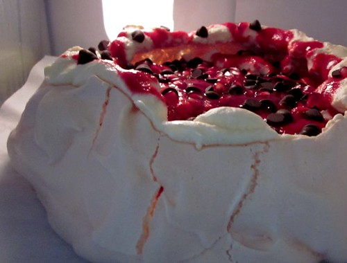 Raspberry and Dark Chocolate Pavlova