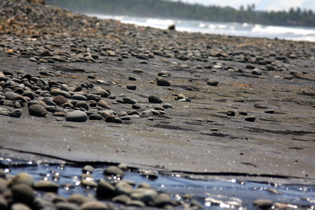 Pebble beach at Medewi, Bali, Indonesia