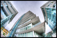Savona - looking up (carlo occhiena) Tags: city urban building glass architecture photoshop skyscrapers fisheye porto layers 8mm hdr vetro perpsective savona grattacieli