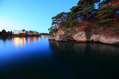 Matsushima Miyagi Japan (Spice  Trying to Catch Up!) Tags: longexposure trip travel november blue trees sea vacation sky color art water japan canon reflections landscape geotagged island photography eos photo twilight asia flickr colours image spice picture vivid tranquility blogger calm livejournal serenity  5d vox   stillness    matsushima gettyimages 2010 miyagiken  friendster wor    twitter faceb canoneos5dmarkii  twitpic