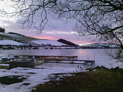 Sunset on Lindores Loch. (Kingfisher 24) Tags: sunset ice boats scotland frozen fife londoresloch