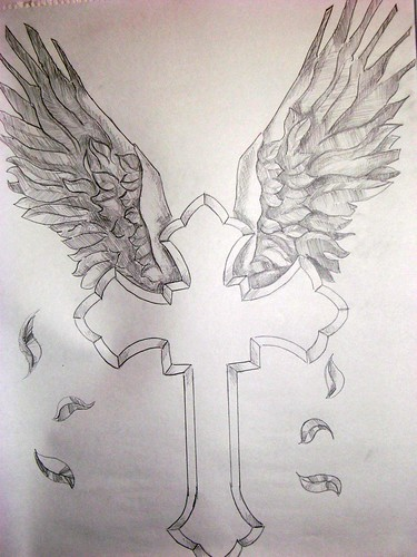 Crosses With Wings Drawings. Cross and Wings.