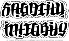 """Sagacity"" & ""Integrity"" Ambigram"