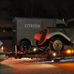 Traction vs HY (bent inge) Tags: winter snow norway night shot traction 1954 commerciale citron 11 michelin avant hy norvege rogaland klepp
