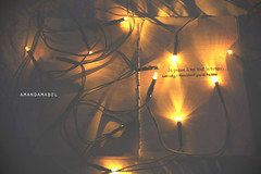 Day 20/365 ~ Je pense  toi tout le temps (Amanda Mabel) Tags: christmas orange black yellow night ink project paper lights book bed missing december day all glow emotion time you think here fairy le bulbs about 365 20 wish temps handwritten je tout pense toi amandamabel