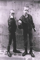 Skinheads (stephen trinder) Tags: uk portrait white black london boys fashion kids pose doc threaten skinheads martens