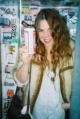 (getweird) Tags: sanfrancisco film 35mm graffiti photobooth kodak stickers babe pointandshoot pops budweiser hayley hesh tallcan canonz115