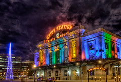 Denver Colorado - Holiday Union Station at Night (Mister Joe) Tags: christmas xmas holiday tree night nikon colorado colorful downtown trains joe denver christmaslights dynamicrange unionstation hdr litup buildinglights architectureandstructures
