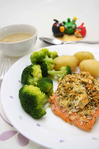 Baked Salmon with parmesan and parsley crust