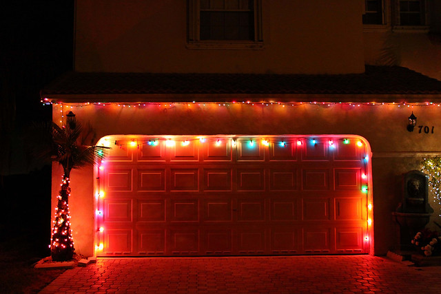 Christmas Eve garage lights