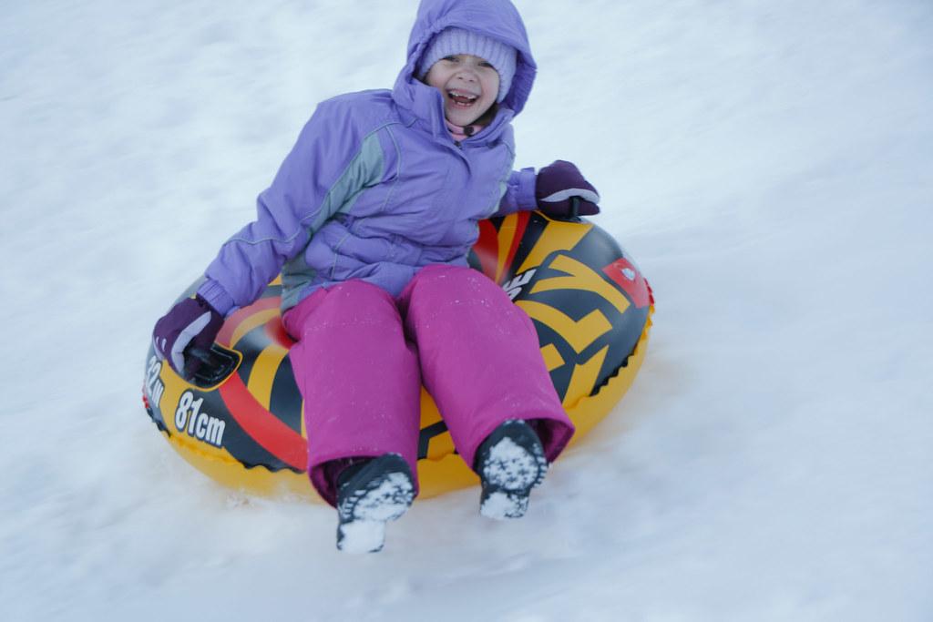 Lily, sledding