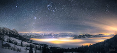 World above the clouds  (dmkdmkdmk) Tags: winter sea snow mountains alps cold nature fog night clouds dark stars landscape lights switzerland swiss hdr wolkennebelmeerlauerzerseesternenhimmel