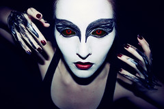 3|365 (1|52) (MelindaShay.) Tags: red white black bird girl face make up dark this scary swan eyes hands paint tank top fingers gothic goth feather evil creepy want explore 365 realllllly