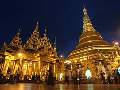 Golden Pagoda (Julian Kaesler) Tags: sunset digital temple gold golden pagoda twilight asia dusk buddha shwedagon yangon burma buddhist myanmar southeast paya zuiko daw rangoon zedi singuttarahill 1260mm olympuse30 zd1260mm