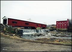 Bridgeton (MEaves) Tags: bridge red water creek midwest indiana falls coveredbridge span gristmill antiquity ruralamerica bridgeton paintedred pentax1855 k10d pentaxk10d pentaxart