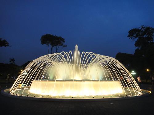 Fountain in Parque de La Reserva at Night