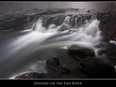 January on the Eno River (Nate Montgomery) Tags: longexposure water canon waterfall nc durham northcarolina explore cascade circularpolarizer hillsborough enoriverstatepark nd8 explored natemontgomery
