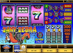 Zany Zebra slot game online review