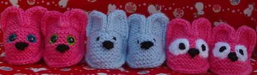 screaming pink and blue bunny booties