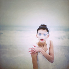 365 (Masha Sardari) Tags: ocean white beach girl eyes waves dress mask theend over 365 done butalsothebeginning