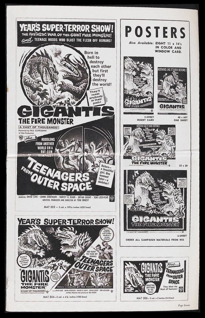 Gigantis the Fire Monster (Warner Brothers, 1959). Pressbook 2