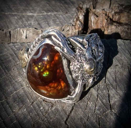 Cernunnos Favor , season of the Oak King , Fire agate Mounted in sterling silver with 14k Gold accent.