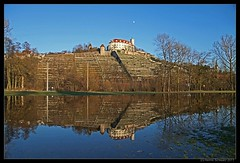 Vaihingen castle on top of vineyards (henrik.schwarz) Tags: winter reflection castle germany deutschland vineyard flood fullmoon vaihingen grassland schloss dri flooded hochwasser badenwrttemberg enz canonef5014 canoneos5dmarkii riverenz dritool20