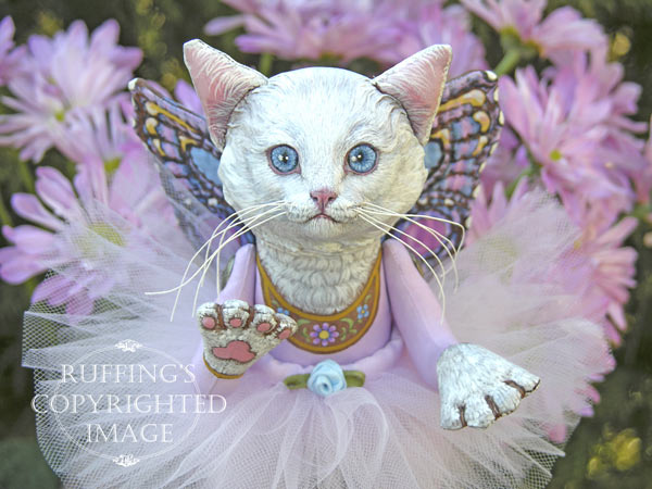 Opal the Pixie Kitten, Original, One-of-a-kind art doll by Max Bailey and Elizabeth Ruffing, version 1, White Turkish Angora Cat with Lavender-pink Chrysanthemums