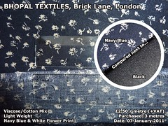 Viscose & Cotton Mix, Navy Printed Flowers