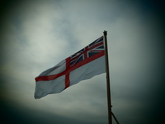 Nicely Caught Flag (Seanathon) Tags: boat ship historic portsmouth aircraftcarrier arkroyal dockyard hmsvictory