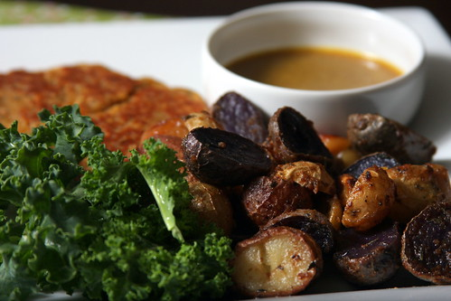 Vcon Chickpea Cutlets with Mustard Roasted Potatoes