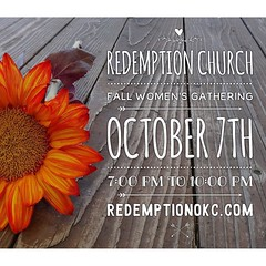 Ladies, reminder: The Fall Women's Gathering is this Friday, October 7th at 7:00 PM. We would love to see you there. Details and RSVP at http://ift.tt/1f30MYY #womensgathering #edmond #churchplanting #community (rcokc) Tags: ladies reminder the fall womens gathering is this friday october 7th 700 pm we would love see you there details rsvp redemptionokccomblog womensgathering edmond churchplanting community