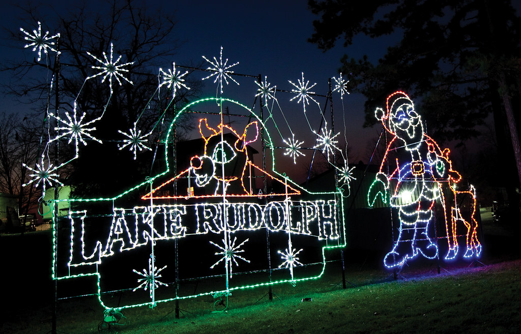 lake rudolph logo at the santa claus land of lights at lake rudolph lake rudolph