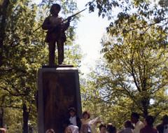 Statue at Morehead Planetarium, April 1982 (melissambwilkins) Tags: west statue nc 1982 hill chapel april planetarium kelly morehead laws alisa