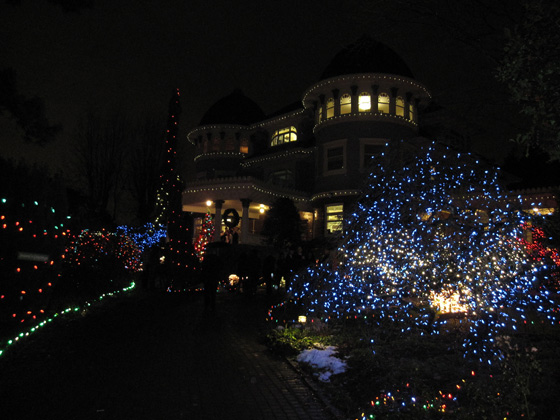 Canuck House with holiday lighting