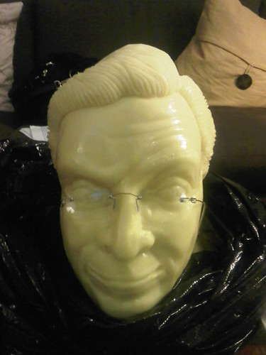 A bust of Stephen Colbert sculpted in cheddar from the largest organic dairy cooperative in the country.