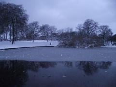 Pond (fairynormal) Tags: park winter snow cold ice weather december snowy sheffield freezing icy blizzard hillsborough fujifilmfinepixs1600