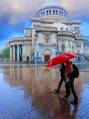 Red Umbrella (brooksbos) Tags: city pink blue red sky people urban reflection church water rain architecture geotagged ma photography photo day mr massachusetts sony newengland cybershot historic dome bostonma symphony sonycybershot bostonist 02115 lurvely church mother everyblock science thatsboston christian dschx5v hx5v brooksbos