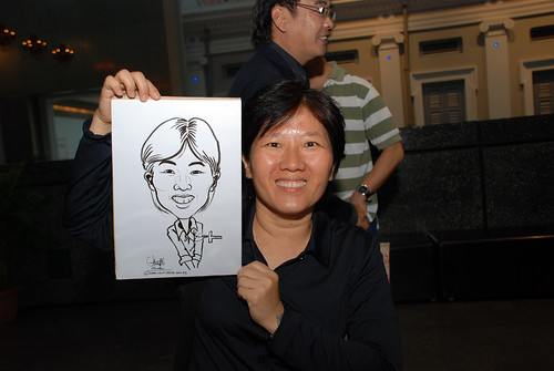 Caricature live sketching for Autism Association(Singapore)- Staff Dinner 2010 - 1