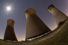 Willington Cooling Towers (night photographer) Tags: moon abandoned station night power towers full disused cooling willinton