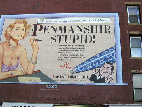 A Penmanship sign was located in Boerum Hill and was painted in 1997. It was a faux billboard create